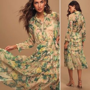 NWOT Lulu's OPT Cosmia floral long sleeve dress